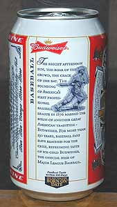 Picture of Budweiser Beer - Back
